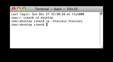 htaccess im Terminal