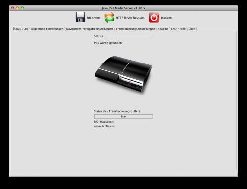 """Nach """"HTTP Server Neustart"""" findet er die PS3!"""