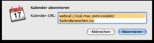 Mac OS X Snow Leopard iCal Kalenderwochen via ics-Datei