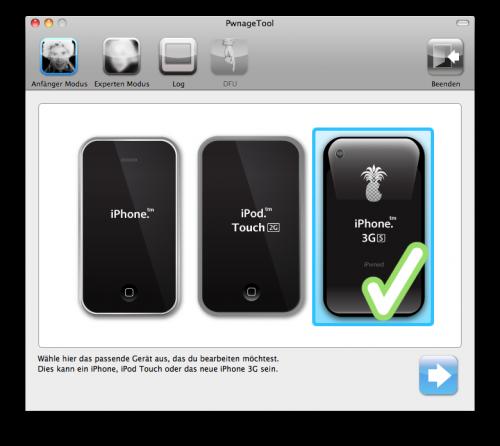 Auswahl des iPhone 3Gs