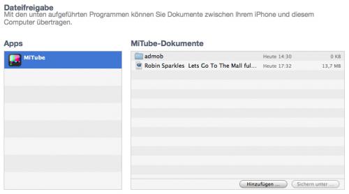iTunes Dateifreigabe