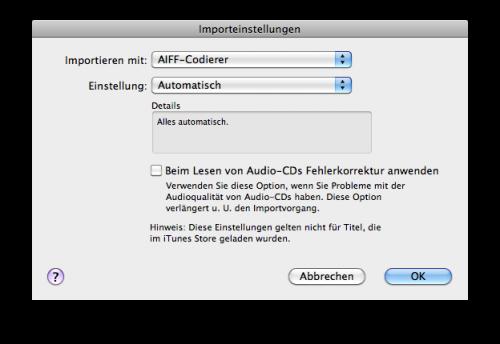 iTunes Importeinstellungen auf AIFF stellen