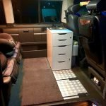 Mobile kitchen block in the rail system of the VW Bus T5 / T6 based on Ikea Alex